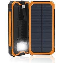 15000 mAh, Dual USB Cargador Solar portátil Backup Power Bank para exteriores de Panel Solar Cargador con LED de luz de emergencia para iPhone Samsung HTC y otros Smartphone(Naranja)