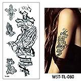 4 Pezzi Foglio Donne Gioielli Corpo temporaneo Petto Petto Arte Tatuaggio Autoadesivo Freddo Choker WST-TL-080 19x9 cm