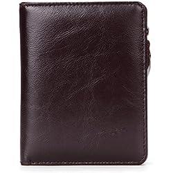 ZGJQ RFID Männer Brieftasche Leder Vertikale Brieftasche Anti-Theft Brush Zip Wallet Casual Brieftasche Männer Geschenkbox (Farbe : Braun)