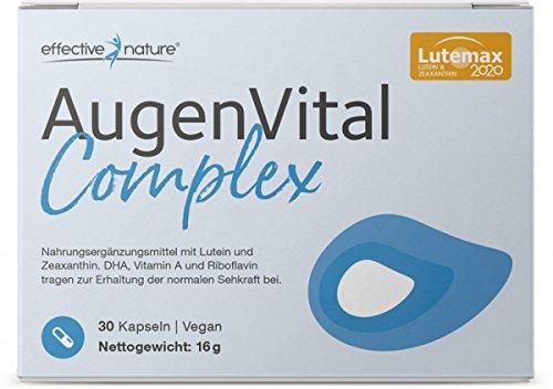 Effective nature AugenVital Complex - mit patentiertem Lutemax 2020, Mit DHA aus Algenöl das zur Erhaltung einer normalen Sehkraft beiträgt, Vegane Kapseln, Ohne synthetische Zusätze, 30 Stk.