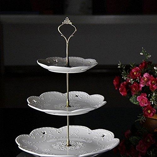 Gemini _ Mall® 3stöckige Kuchenetagère Kuchen Teller Ständer Griff Armatur Hochzeit Party Tisch Dekor bronze