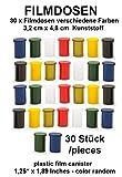 30 x Filmdose Bunt -3,2 cm x 4,8 cm Verschiedene Farben von Geo-Versand Geocaching Versteck mit Deckel - Filmdosen Schule basteln aufbewahren rascheldosen, Kleinteildose - Film Cannister