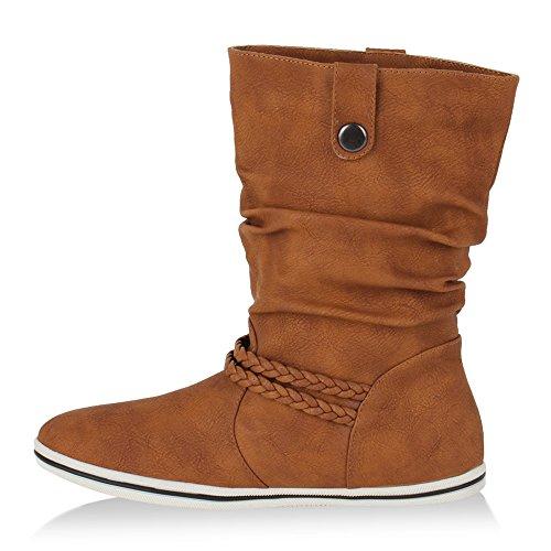 Damen Stiefeletten | Schlupfstiefel Flach | Stiefel Leder-Optik | Metallic Schuhe Boots | Trendy Übergangsschuhe Hellbraun
