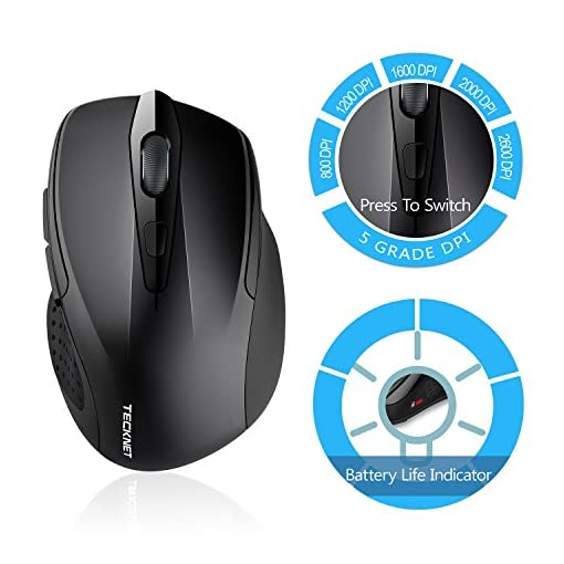 26692908900 TeckNet M003 Pro 2.4G Ergonomic Wireless Mobile Optical Mouse with USB Nano  Receiver for Laptop,PC,Computer,Chromebook,MacBook,Notebook,6 Buttons,24  Month ...