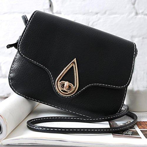 Pu Borsa A Tracolla In Pelle, Womens Leather Borsa Borsetta Cross Body Spalla Borsa Messenger Bag di Kangrunmy Nero