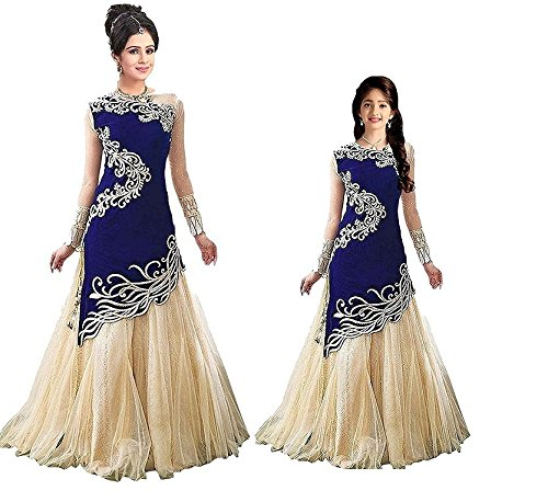 TexStile Women Blue Colour Semi-Stiched Lehenga Choli Combo