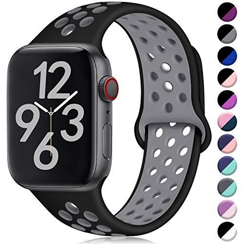 Hamile Kompatibel für Apple Watch Armband 38mm 40mm,Dual Farbe Weiches Silikon Atmungsaktiv Sportarmband für Apple Watch Series 4 Series 3 Series 2 Series 1, M/L Schwarz/Grau Apple Farbe