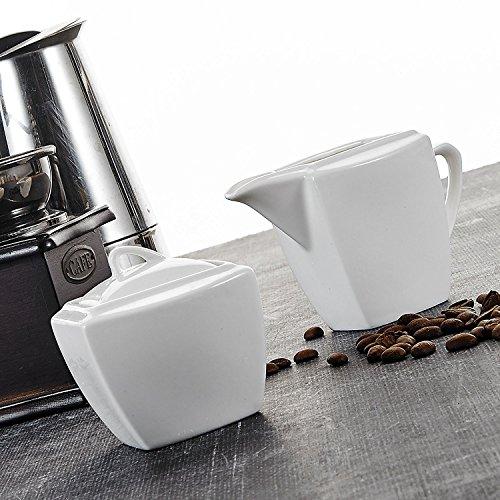 Malacasa, Serie Blance, 6-teilig Porzellan Milch- & Zuckerset, mit jeweils 2 Milchgießer und Zuckerdose mit Deckel