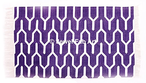 Indische Baumwolle Teppich (4* 6ft) Wohnzimmer Große Fläche Teppich Baumwolle Pray Matte Baumwolle Teppich handgefertigt Teppich handgewebte Flickenteppich Teppich indische Baumwolle Teppich Handgewebt Boden Baumwolle Teppich Violett Block Print Baumwolle Teppich (Jute 5')