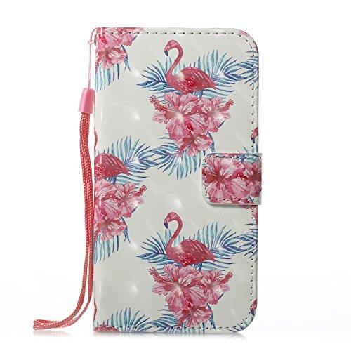 Kucosy Galaxy A3 2017 3D Gemaltes Muster PU Leder Folio Brieftasche Schutzhülle mit Silikon Weich Innere Anti-Scratch Handytasche mit Kartenfach Standfunktion für Galaxy A3 2017, Blume&Flamingo