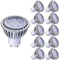 LAMPAOUS 7W LED GU10, blanc froid 6000k, Équivalent aux ampoules halogènes 60W, Angle d'éclairage 60 degrés, non dimmable, spot light,lot de 10.