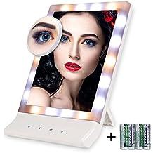 Espejo Maquillaje con luz, Artifi Múltiples Ajustes de Iluminación Pantalla Táctil con Punto de Aumentos 10x, Espejo de Maquillaje