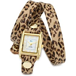 La Mer Collections Damen LMSTW6002 Leopard Gold Triple Wrap Armbanduhr