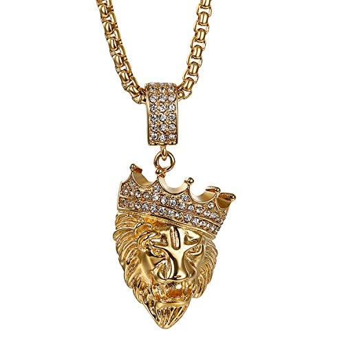 JewelryWe Collar Hip Hop Colgante Grande de Leon, Acero Inoxidable Collar de Color Oro Cadena Punk Rock Biker, Regalo Original para Hombre