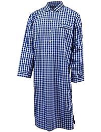 Lloyd Attree & Smith - Chemise de nuit homme - 100% coton - carreaux bleu marine