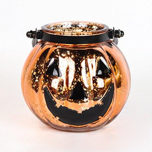 14 cm hoher Halloween Glas Hexenkessel mit Tragegriff und batteriebetriebener Beleuchtung mit 10 LEDs in warmweiß im eiskalten und erschreckend gutaussehenden Kürbiskopf-Design, von Festive (Geisterbahn Die Halloween Dekoration Für)