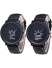 Reloj de pulsera con correa de cuero PU, Cuitan 2pcs Moda Parejas mujer & hombres Watch Cuarzo Análogo Reloj, Rey y Reina Corona Diseño / Redondo dial / Negro