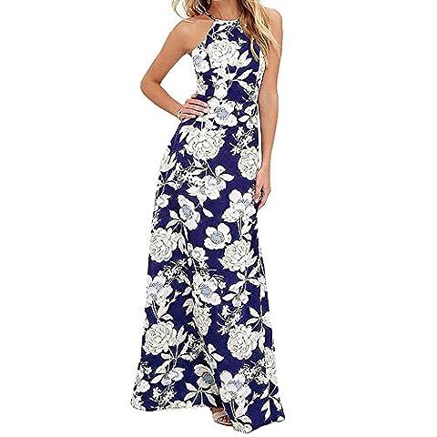 Dress, Hevoiok Women Sleeveless Halter Floral Print Party Long Gown