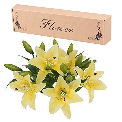 Flores Artificiales, Meiwo 5 Pcs Real Toque Látex...