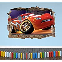 3D Lightning McQueen Cars Smashed Breakout Wall Sticker Boys Girls Bedroom 3 - Extra Large Landscape 100cm (w) X 70cm (h) preiswert