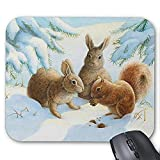 Gaming Mauspad Mousepad Lovely Rabbit Mousepad Series Kaninchen und Eichhörnchen im Schnee Mauspad Bunny Rabbit Mouse Pad Rechteck Mousepads