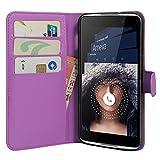 HualuBro Alcatel Idol 4 Hülle, Premium PU Leder Leather Wallet Handyhülle Tasche Schutzhülle Case Flip Cover mit Karten Slot für Alcatel Idol 4 Smartphone (Violett)