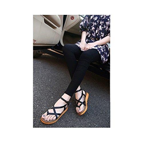 Scarpe di Moda Sandali alpargatas aperto di piattaforma caviglia donna 011 Noir