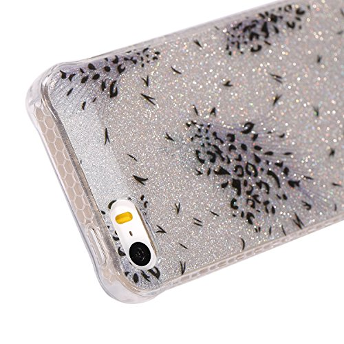 Custodia iPhone 5/5S, ISAKEN Cover per Apple iPhone 5 5S SE [TPU Shock-Absorption] - Glitter Farfalle Design Custodia Case Ultra Sottile TPU Morbido Protettiva Cassa Bumper - Glitter Farfalle blu Puntini neri