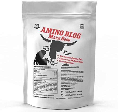AMINO BLOG MAXX 8000 = 420 Tabletten Aminosäuren-Komplex aus 18 Aminosäuren | Glutamin, BCAA, Arginin | Vegan | Muskelaufbau, Muskeschutz & Muskelerhalt | Anabol + Antikatabol |Hochdosiert zum besten Preis