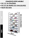 NALIAN Etagère - Meuble à chaussures modulable de 2 à 14 étagères (8 à 56 paires) - Largeur : 88 cm - Gris ou Noir / Entrée-Rangement-Armoire-Range chaussures-Organisateur - Noir 4 étagères - 16 paires