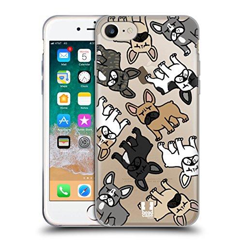 Head Case Designs Bulldog Francese Razze di Cani Pattern Cover Morbida in Gel per iPhone 7 / iPhone 8