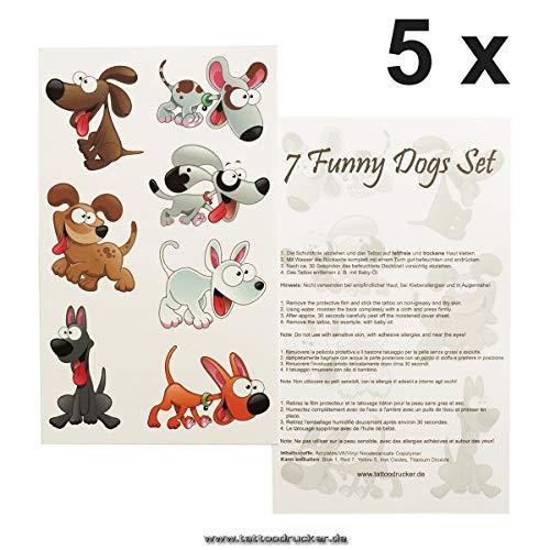 5 x Hunde Tattoo Set - 35 große Temporary Tattoo Sticker - Dogs Animals - Kinder Tattoo (5)