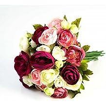 Ramo de ranunculus artificial con 23 flores, fucsia-rosa-blanco, 30 cm, Ø 25 cm - Flores decorativas / Ramillete sintético - artplants