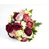 Künstlicher Ranunkelstrauch mit 18 Blüten, pink-rosa-weiß, 30cm, Ø 25cm - Deko Strauß Busch Strauch