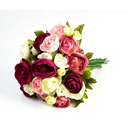 artplants Künstlicher Ranunkelstrauch mit 18 Blüten, pink-rosa-weiß, 30cm, Ø 25cm - Deko Strauß Busch Strauch