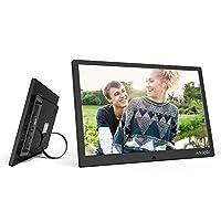 إطار صورة رقمي 12 بوصة LED من Honorall 1280 × 800 دعم دقة 1080P فيديو عشوائي من سبيكة الألومنيوم مع جهاز التحكم عن بعد هدية عيد الميلاد UK Plug LMZHONORALLD4848B-UKSA