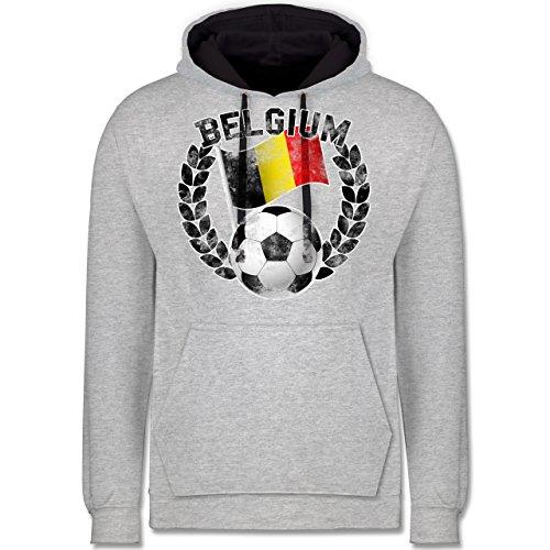 Fußball-WM 2018 - Russland - Belgium Flagge & Fußball Vintage - Kontrast Hoodie Grau meliert/Dunkelblau