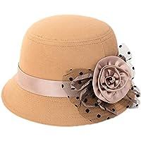 Aikesi 1Pcs Sombrero de mujer de encaje con capucha de fieltro de algodón suave de otoño e invierno Elegantes sombreros de jugador de bolos, beige