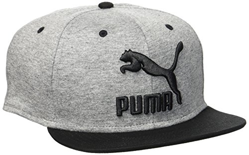 Puma Kinder LS Colourblock Snapback Cap, Medium Gray Heather/P.Black, One size