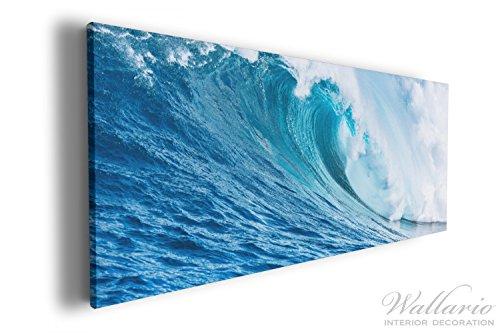 Wallario XXXL Riesen- Leinwandbild Eindrucksvolle Welle im Ozean - 80 x 200 cm in Premium-Qualität:...