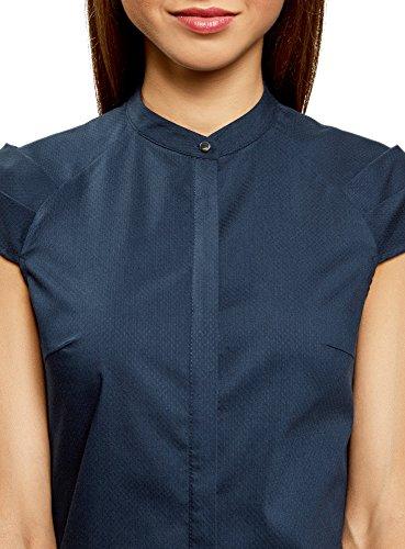 oodji Ultra Damen Bluse Aus Baumwolle mit Kurzen Ärmeln Blau (7900N)