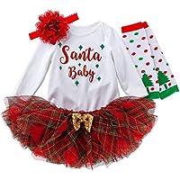 Invierno Fiesta Niño pequeño Bebé Niños Niñas Navidad Día Romper Tops Tutu Dress Hairband Set