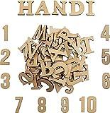 Holzbuchstaben und Holznummern (124 Stück) - Satz von (A-Z) Großbuchstaben und Kleinbuchstaben (je 52) mit 20 Holznummern (0-9) - Kunsthandwerk DIY Hochzeitsfest Holzhaus Display Dekorationen