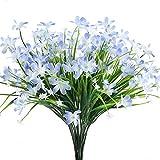 HUAESIN Künstliche Blumen, 4 Pcs Unechte Blumen Seide Grüne Pflanzen Kunstblumen Busch für Draußen Topf Balkon Korb Fenster Wohnung Büro Hochzeit Party Deko