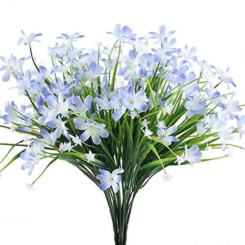 MIHOUNION Künstliche Blumen, 4 Pcs Unechte Blumen Seide Grüne Pflanzen Kunstblumen Busch für Draußen Topf Balkon Korb Fenster Wohnung Büro Hochzeit Party Deko