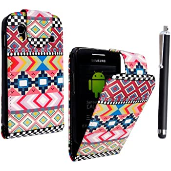 SAMSUNG GALAXY ACE S5830 S5830i S5839i PU LEATHER MAGNETIC FLIP CASE COVER POUCH +GUARD+STYLUS (Aztec Dark Tribal Retro Vintage)
