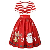 SamMoSon Kleider Damen Weihnachten Karneval Kostüm Festlich Partykleid Cocktailkleid Abendkleid Spitzenkleid 50er Vintage Retro Rockabilly Swing Kleid Hepburn Stil Dress