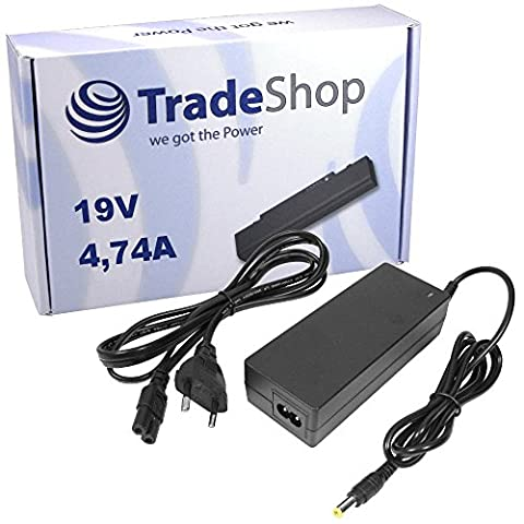 Notebook Laptop Netzteil Ladegerät Ladekabel Adapter 19V 4,74A 90W Stecker 5,5mm x 2,5mm für viele Geräte von Acer, Asus, Dell, Fujitsu, HP/Compaq, MSI, Toshiba, Medion, LG