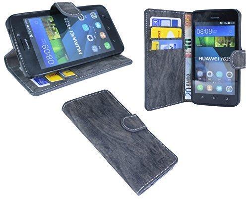 Huawei Ascend Y635 Buchtasche Hülle Case Tasche Wallet BookStyle mit STANDFUNKTION Anthrazit @ Energmix