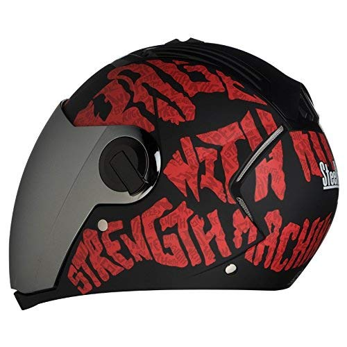 Steelbird SBA-2 Full Face Helmet (Black and Red, L)